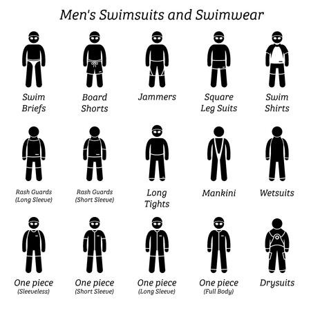 Herren Badeanzüge und Bademode. Strichmännchen zeigen verschiedene Arten von Badeanzügen, die von Mann oder Mann getragen werden. Vektorgrafik