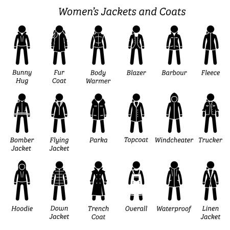 Vestes et manteaux pour femmes. Le pictogramme de bonhomme allumette représente un ensemble de différents types de vestes et de manteaux. Ces conceptions de vêtements de mode sont portées par les femmes, les femmes, les femmes et les filles.