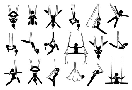 Aerial yoga icons. Illustrations depict a woman performing anti gravity yoga exercise in different poses and positions with a hammock. The techniques are for beginners and experts. Ilustração
