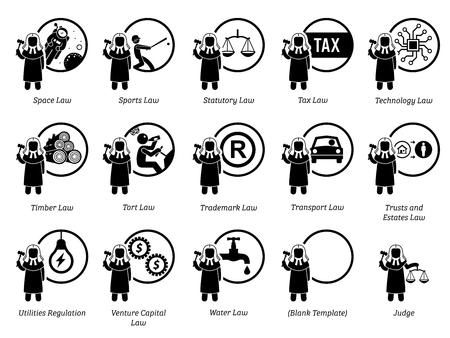 Verschiedene Arten von Gesetzen. Symbole zeigen das Gebiet und den Bereich der Gesetze, der Justiz, der Gerichtsbarkeiten, der Vorschriften und des Rechtssystems. Teil 7 von 7. Vektorgrafik