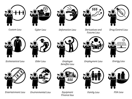 Different type of laws. Icons depict field and area of laws