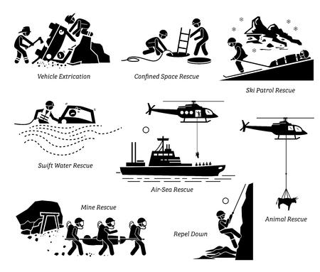 Pittogrammi delle operazioni di soccorso. Le illustrazioni mostrano operazioni di salvataggio e salvataggio in diversi luoghi e situazioni sia per l'uomo che per gli animali. Vettoriali