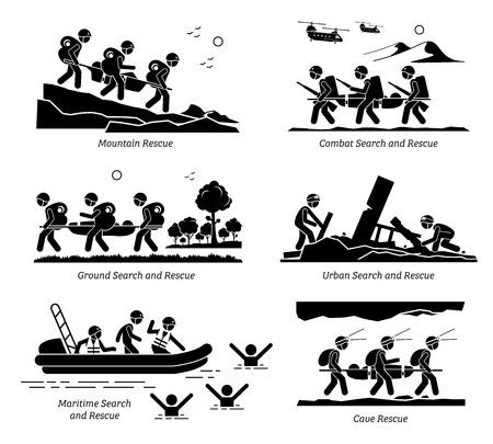 Operacje poszukiwawczo-ratownicze. Ilustracje przedstawiają operację SAR w ratownictwie górskim, bojowym, lądowym, miejskim, morskim, wodnym i jaskiniowym.