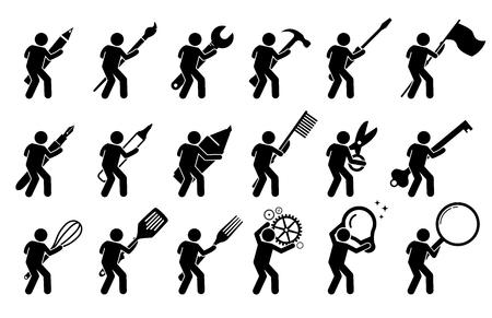 Strichmännchen Strichmännchen mit verschiedenen Werkzeugen und Ausrüstungen. Es umfasst Schreib- und Zeichengeräte, mechanische Werkzeuge, Kochutensilien und andere Gegenstände. Vektorgrafik