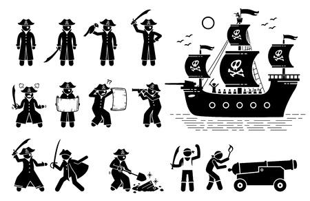 Poses de pirata y barco. El pictograma de figura de palo representa a piratas en diferentes acciones, como pelear con espadas, leer un mapa, usar un catalejo, encontrar tesoros, disparar balas de cañón y navegar en un barco.