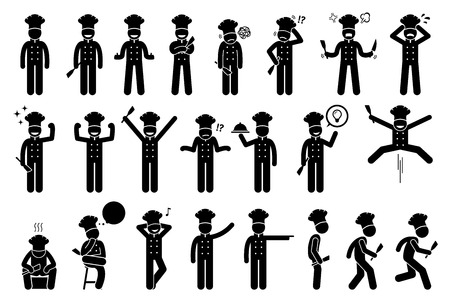 Chef basic poses, feelings, actions, and emotions. Stick figures shows the chef or cook is feeling happy, sad, angry, and successful. Other actions include standing up, sitting, walking, and running. Vetores