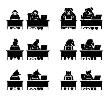 Different type of animals using computer to surf the Internet. Icons depict monkey, pig, chicken, horse, wolf, and cat working on a laptop and go online.