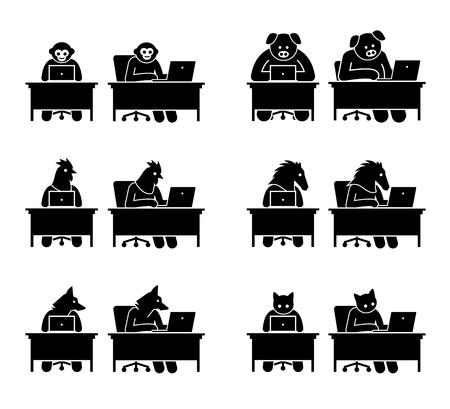 Verschiedene Arten von Tieren, die Computer verwenden, um im Internet zu surfen. Symbole zeigen Affen, Schweine, Hühner, Pferde, Wölfe und Katzen, die an einem Laptop arbeiten und online gehen. Vektorgrafik