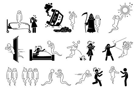 L'homme est mort et est devenu un fantôme. L'ensemble d'icônes représente un esprit qui hante les gens et la maison. L'âme va en enfer ou au paradis après la vie. Les gens ont peur du fantôme. Vecteurs