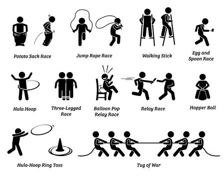 Competencia de juegos deportivos para niños de escuela primaria. Los iconos representan varias actividades de eventos de campo al aire libre para que los niños pequeños jueguen y se diviertan.