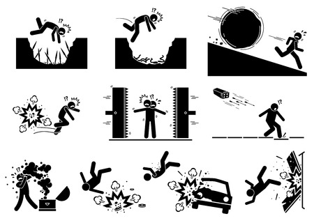 Booby trap pictograms. Stick figure icons depict ancient and modern booby trap setup that kill human. Stock Vector - 115676760