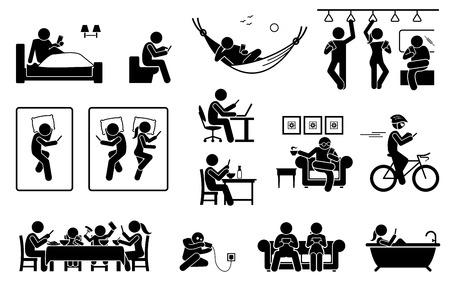 Persone che usano il telefono in luoghi diversi. Le icone raffigurano umani con smartphone su letto, bagno, treno, divano e vasca da bagno. Usano anche il telefono durante il lavoro, i pasti, il riposo, il ciclismo e la ricarica della batteria.