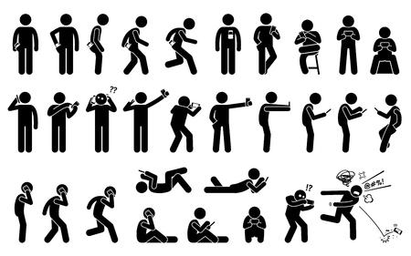 Hombre que usa, sostiene y lleva el teléfono o el teléfono inteligente en diferentes posiciones y posturas básicas. Las figuras de palo representan un conjunto de humanos con un teléfono celular.