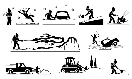 People having problems with snow and ice during winter. Pictogram depicts icons of human removing snows from roof, road, street, and house with snow plow truck, shovel, snow blower, and flamethrower. Illustration