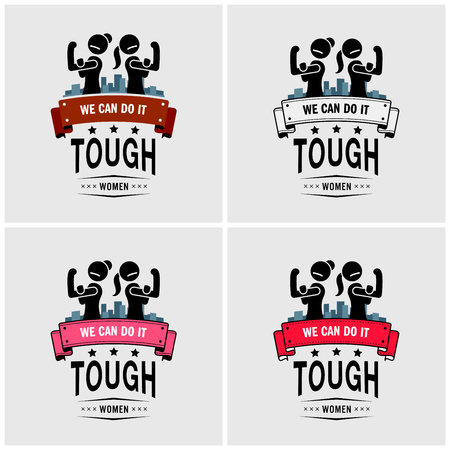 Tough girls or strong women logo design. Vector artwork of two woman showing off their biceps with the quote we can do it.