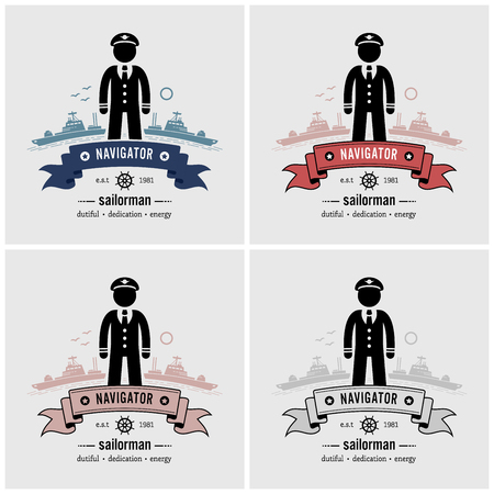 Captain or sailor logo design. Vector artwork of a ship captain standing in front of ships and the sea.