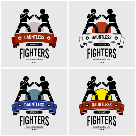 MMA mixed martial arts logo design. Vector artwork of fighters club, match, and tournament.