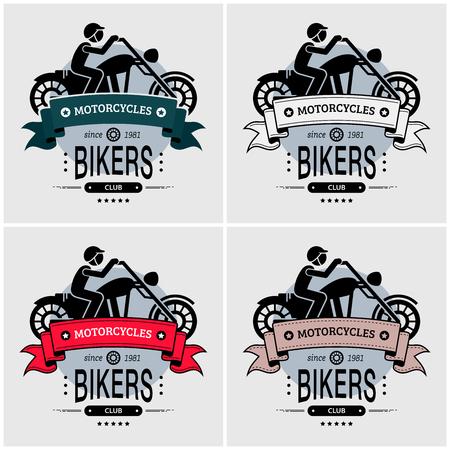 Chopper biker club logo design. Vector artwork for big motorcycle or large motorbike with rider.