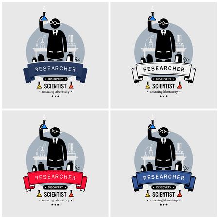 Logodesign für Wissenschaftler und Labor. Vektorgrafiken von Professoren oder Forschern, die im Labor neue Entdeckungen finden. Logo