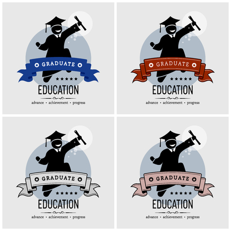 Diseño de logotipo de graduación de estudiantes. Ilustraciones vectoriales de un titulado universitario graduado saltando y sosteniendo felizmente un pergamino.