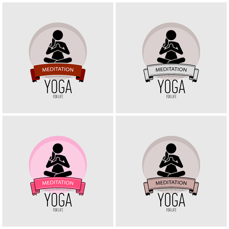 Yoga logo design. Vector artwork of woman practicing yoga in sitting position that represent peacefulness, serenity, energy, and calmness.