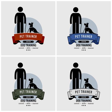 Progettazione del logo di addestramento del cane. Grafica vettoriale di addestratore di animali domestici.