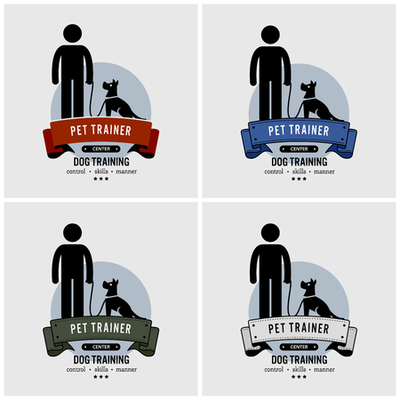 Dog training logo design. Vector artwork of pet trainer.