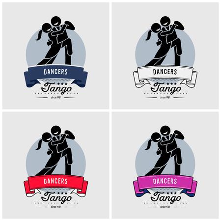 Dancing club or class logo design. Vector artwork suitable for dancers of tango, waltz, salsa, or rumba style.