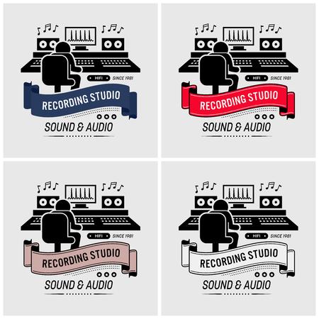 Estudio de grabación y diseño de logotipos de ingeniería de sonido. Ilustraciones vectoriales de un compositor de música mezclando y editando sonido en una sala de audio con todos los equipos profesionales.