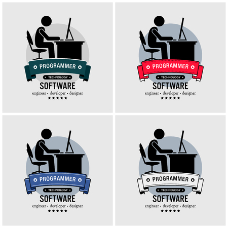Programmer logo design. Vector artwork of an IT specialist coding and programming with a computer. Logo