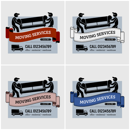 Moving services company logo design. Vector artwork of mover workers carrying a sofa or couch for relocation. Using lorry or truck as the mode of transportation. Logo