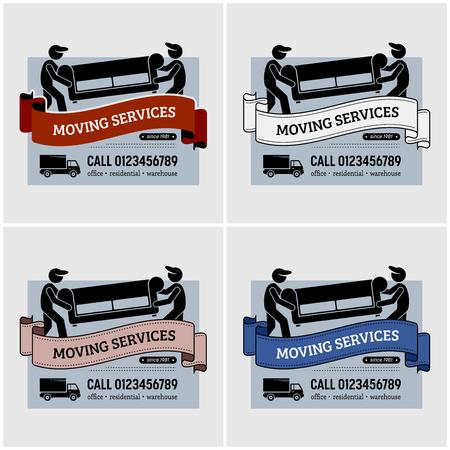 Progettazione del logo della società di servizi in movimento. Grafica vettoriale di lavoratori in movimento che trasportano un divano o un divano per il trasferimento. Utilizzo di camion o camion come modalità di trasporto. Logo