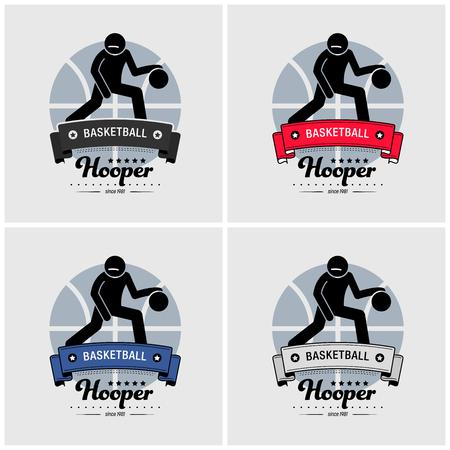 Basketball club logo design. Vector artwork of basketball team player emblem design.