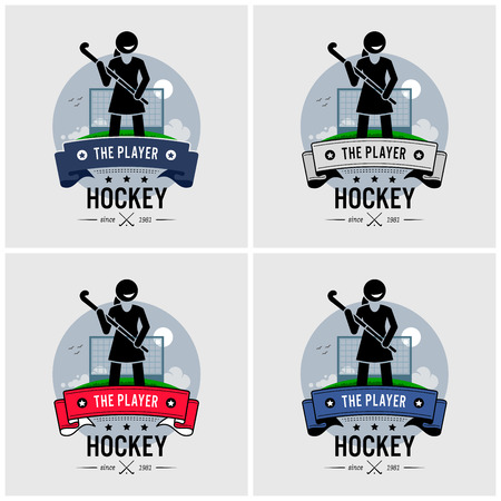 Hockey club logo design. Vector artwork of a female hockey player holding a stick and posing in front of a field. Ilustracja