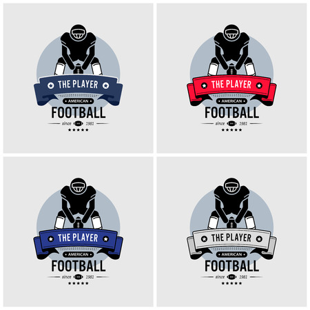 American football club logo design. Vector artwork of American football player squatting and holding a ball. Illustration