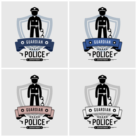 Police logo design. Vector artwork of police officer and department.