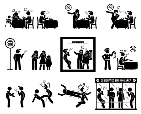 People hate smoker smoking in public places. Illustrations depict non-smoker despise inconsiderate smoker at restaurant, bus stop and inside the elevator. Designated smoking area is prepared for them. Illustration