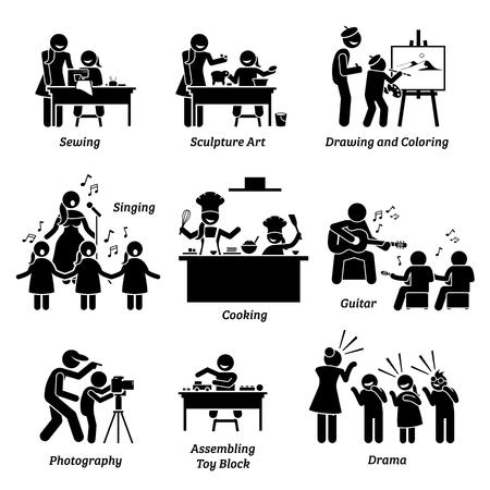 Kunst- und Bastelangebote für Kinder. Illustrationen zeigen die Aktivitäten des Nähens, der Bildhauerei, des Zeichnens, des Malens, des Singens, des Kochens, des Gitarrespielens, der Fotografie, des Bauklötzes und des Theaters.