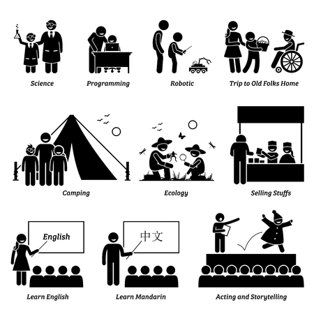 Enrichment program in academic and extra curricular activities for school children. Illustration depict children learning different educational activities at school and outside.