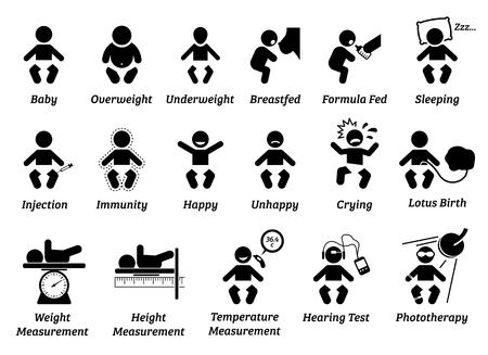 Santé de bébé et icône médicale. Les illustrations représentent un nourrisson avec un poids et une taille corporels différents, une alimentation, une injection et des émotions. Le poids, la taille et la température du bébé sont mesurés. Vecteurs