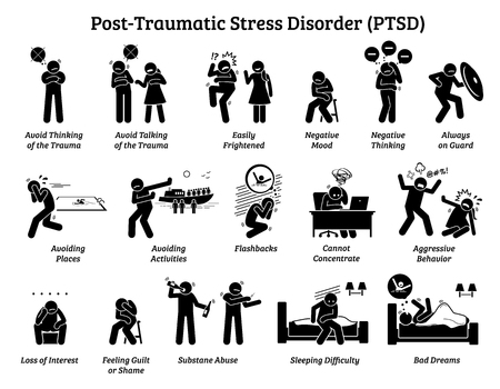 Post Traumatic Stress Disorder PTSD signs and symptoms. Illustrations depict man with post traumatic stress disorder facing difficulty in life and mental issue. Banque d'images - 117009977