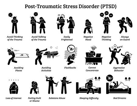 Posttraumatische Belastungsstörung PTSD Anzeichen und Symptome. Illustrationen zeigen einen Mann mit einer posttraumatischen Belastungsstörung, der Schwierigkeiten im Leben und psychische Probleme hat.