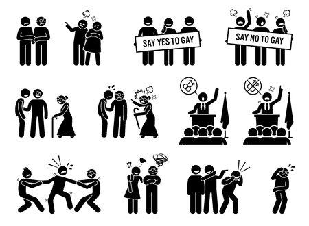 Gay man social problems and life hurdles. Illustrations depict homosexual men facing social difficulties, acceptance, rejections, and bullying. Illustration