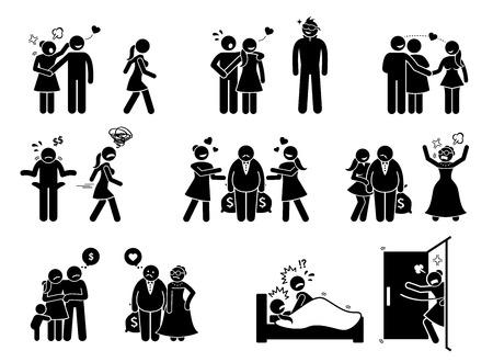 Historia de amor de hombre y mujer. Las obras de arte representan al novio distraído por una mujer atractiva mientras que la novia está celosa. La esposa deja al marido por un viejo rico. La mujer atrapó al hombre teniendo con otra chica.