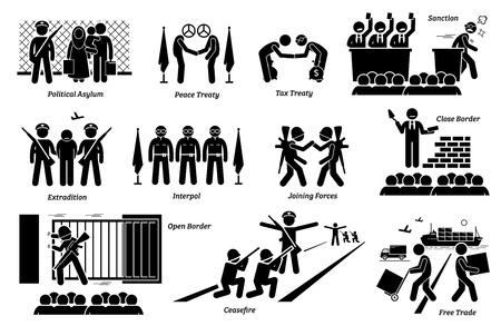 Tratados, leyes y acuerdos internacionales de países. La obra de arte muestra asilo político, tratado de paz e impuestos, sanción, extradición, interpol, aliados, frontera cerrada y abierta, alto el fuego y libre comercio.