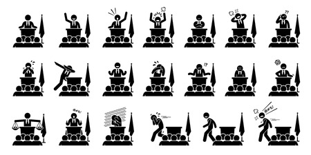 Politician, president, or prime minister actions, feelings, and emotions during his speech. Artwork depicts set of different poses and body languages by a government leader of a country. Illustration