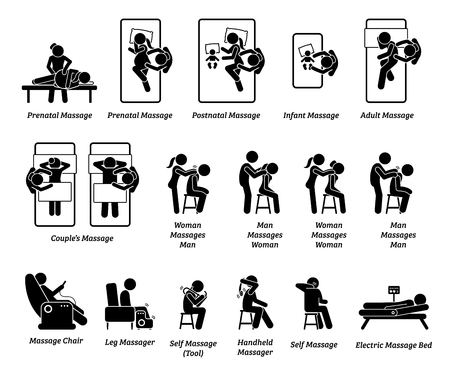 Human masseur and massage equipments. Artworks depict massage for prenatal, postnatal, infant, adult, and couple. Equipment and massage tools include chair, leg, handheld tool, and bed.