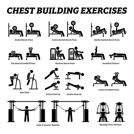 Chest building exercises and muscle building stick figure pictograms. Artworks depict a set of weight training reps workout for chest muscle by gym machine and tools with step by step instructions.