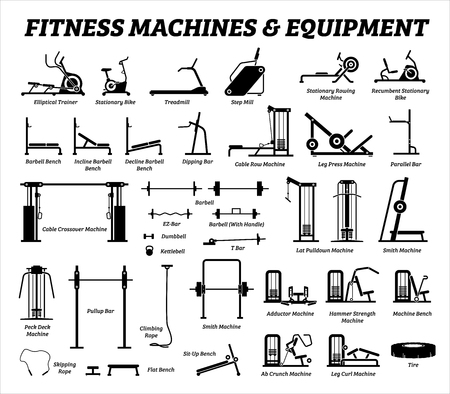 Fitness, cardio, and muscle building machines, equipments set at gym. Artworks depict a list of exercise workout tools, machines, and equipments in the gym room.