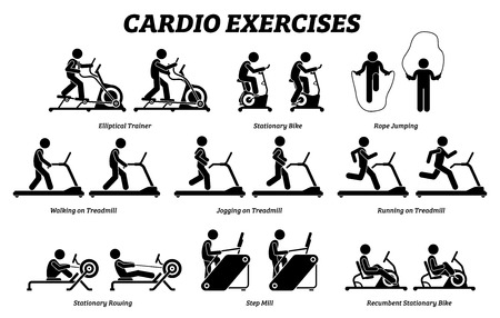 Cardio exercises and fitness training at gym. Artworks depict cardio exercise machine, elliptical trainer, stationary bike, rope jumping, treadmill, step mill, stationary rowing, and recumbent bike.